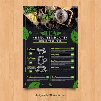 Modello di menu del tè con foglie