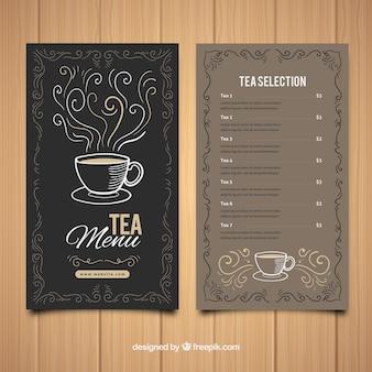 Modello di menu del tè con lista di bevande