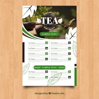 Modello di menu del tè