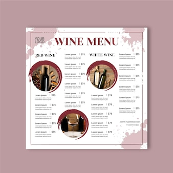 Modello di menu del vino