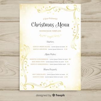 Modello di menu dell'acquerello dorato di natale