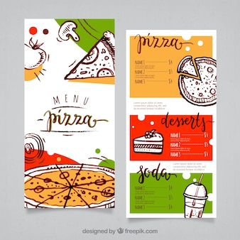 Modello di menu della pizza