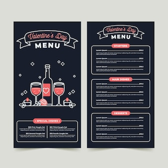 Modello di menu design piatto di san valentino