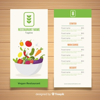 Modello di menu di alimenti biologici