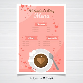 Modello di menu di bevande calde di san valentino
