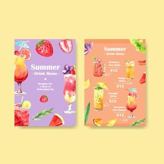 Modello di menu di bevande estive