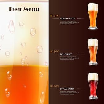 Modello di menu di birra con realistici bicchieri di birra