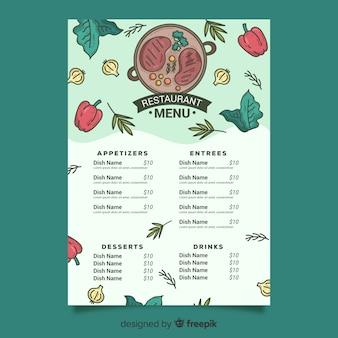 Modello di menu di bistecca e verdure