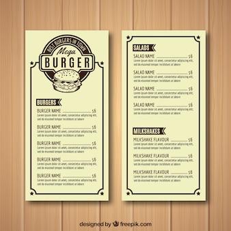 Modello di menu di casa del burger