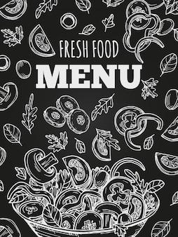 Modello di menu di cibo fresco lavagna