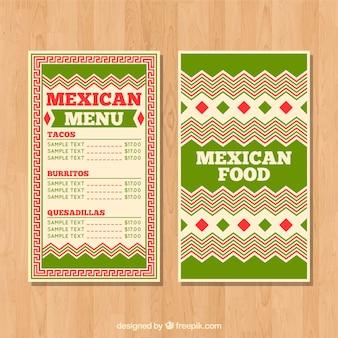 Modello di menu di cibo messicano verde