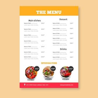Modello di menu di cibo messicano