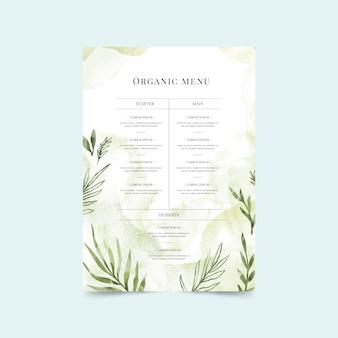 Modello di menu di cibo sano dell'acquerello