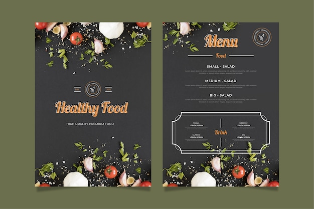 Modello di menu di cibo sano vintage