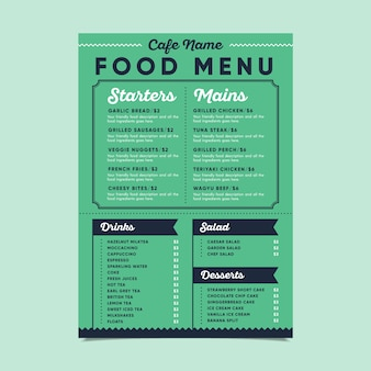 Modello di menu di cibo verde