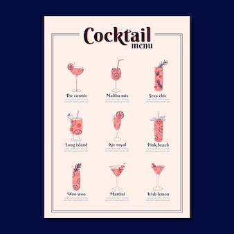 Modello di menu di cocktail con bevande diverse