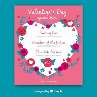 Modello di menu di cuore floreale san valentino
