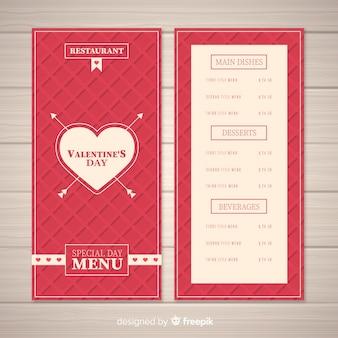 Modello di menu di diamanti valentine