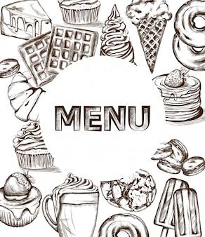 Modello di menu di dolci