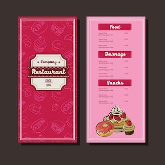 Modello di menu di doodle di panetteria