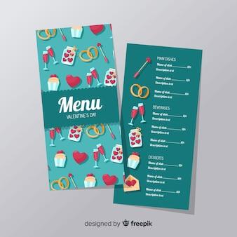 Modello di menu di elementi di san valentino