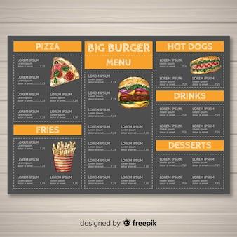 Modello di menu di fast food disegnato a mano