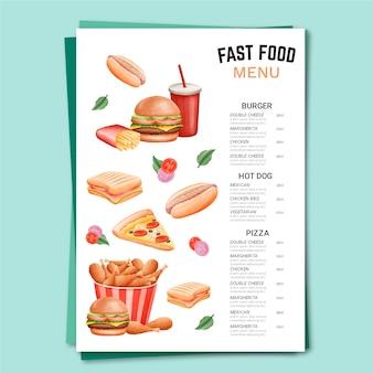 Modello di menu di fast food