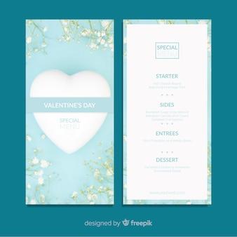 Modello di menu di fiori di san valentino realistico