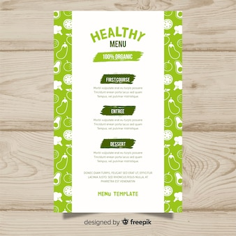 Modello di menu di frutta e verdura fresca