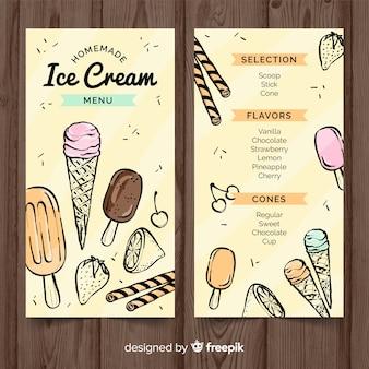 Modello di menu di gelato disegnato a mano