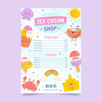 Modello di menu di gelato