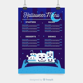 Modello di menu di halloween blu scuro
