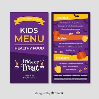 Modello di menu di halloween colorato con design piatto