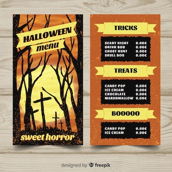 Modello di menu di halloween disegnato a mano incantevole