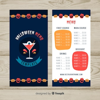 Modello di menu di halloween in design piatto