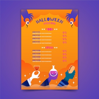 Modello di menu di halloween in design piatto