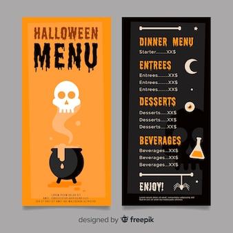 Modello di menu di halloween nero e arancione