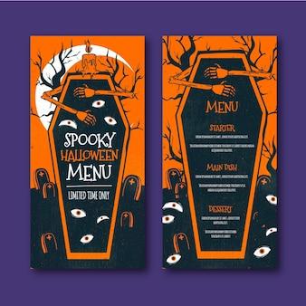 Modello di menu di halloween spettrale