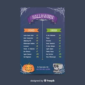 Modello di menu di halloween su design piatto