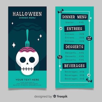 Modello di menu di halloween verde