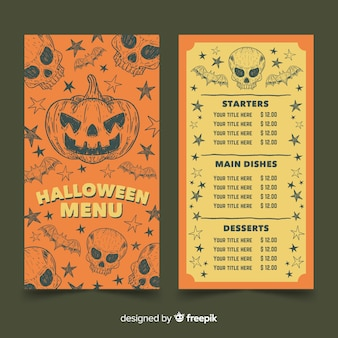 Modello di menu di halloween vintage con zucca