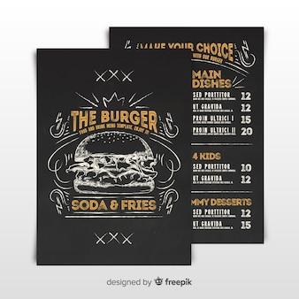 Modello di menu di hamburger d'epoca