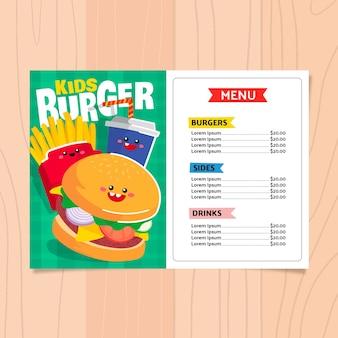 Modello di menu di hamburger per bambini