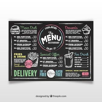 Modello di menu di lavagna