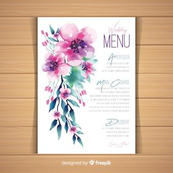 Modello di menu di matrimonio floreale dell'acquerello