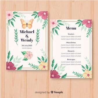 Modello di menu di matrimonio floreale disegnato a mano