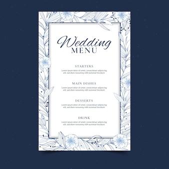 Modello di menu di matrimonio floreale