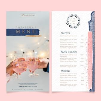 Modello di menu di natale con foto