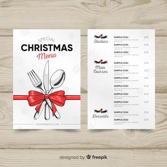 Modello di menu di Natale disegnato a mano incantevole