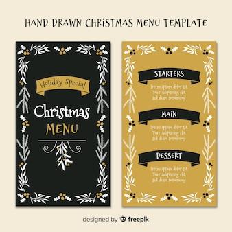 Modello di menu di Natale foglie disegnato a mano